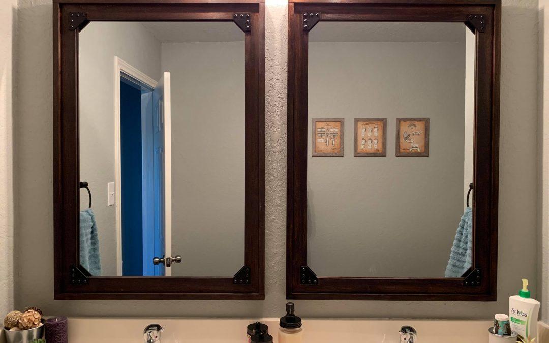 Industrial Mirror with Corner Brackets